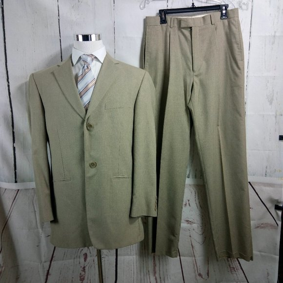 Haggar Other - Haggar Enterprise 42L 2 Button Tan 2pc Suit 32W